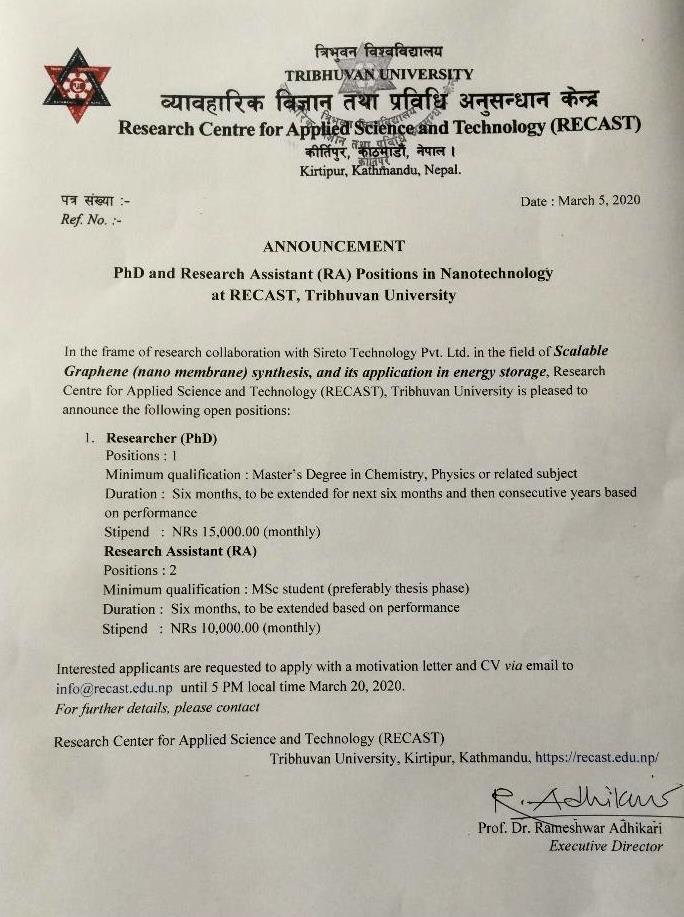 PhD and Research Assistant(RA) Position In Nanotechnology at Recast TU
